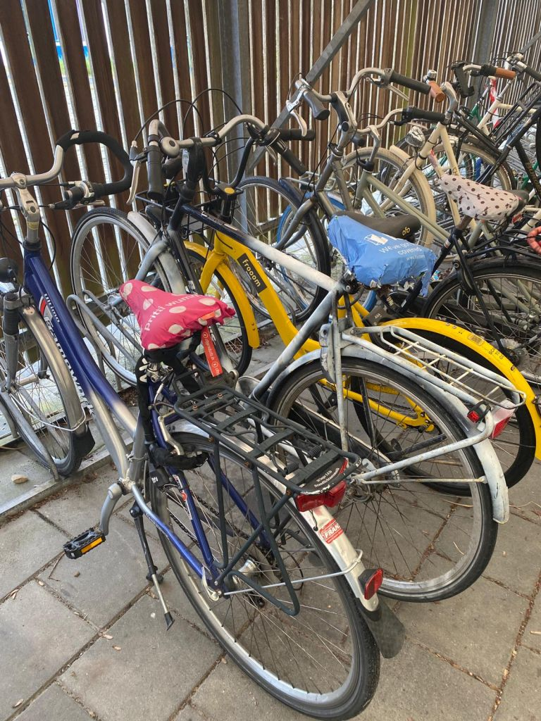 Man sieht drei Fahrräder in einer Fahrradgarage. Alle drei haben einen Sattelüberzug,