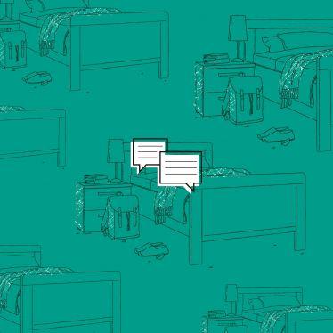 Vorschaubild für das Dossier Wohnen, mit 2 Sprechblasen