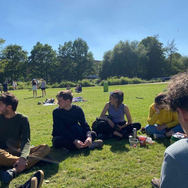 Ein Teil der Gruppe sitzt im Park in Odense.