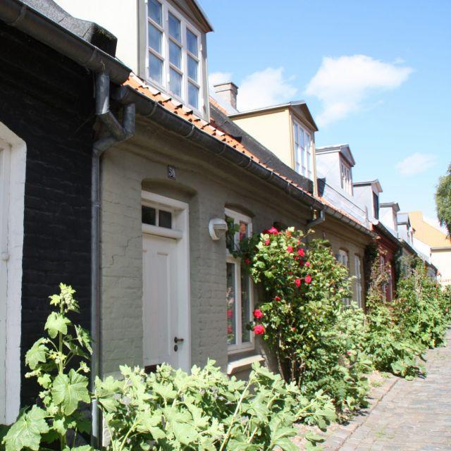 Fachwerkhäuser mit Bepflanzung