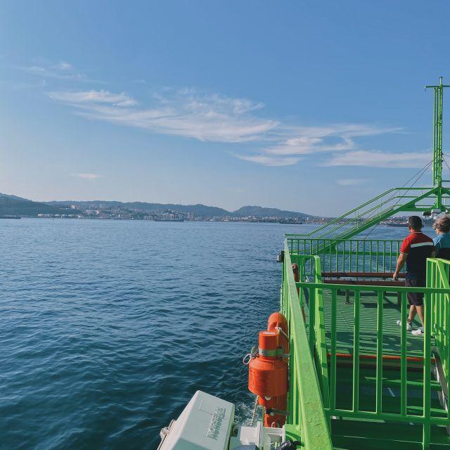 Die grüne Fähre fährt durch das Wasser zur Halbinsel.