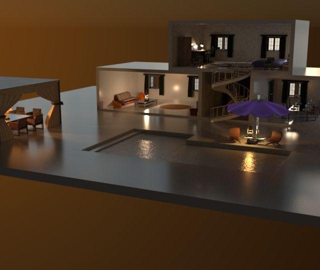 Villa modelliert mithilfe 3D Programmes.