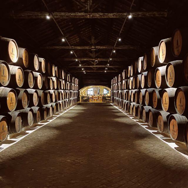 Ein Blick in die große Lagerhalle, links und rechts stehen die Weinfässer.