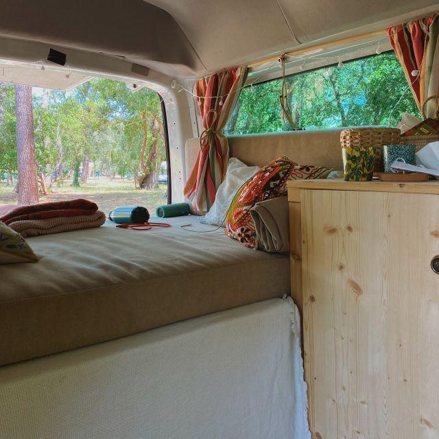 Der Campern steht auf einer Lichtung umringt von Bäumen. Aus dem Kofferraum raus sieht man die Natur.