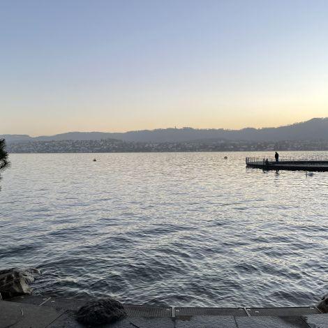 Man sieht den Zürichsee im Sonnenuntergang