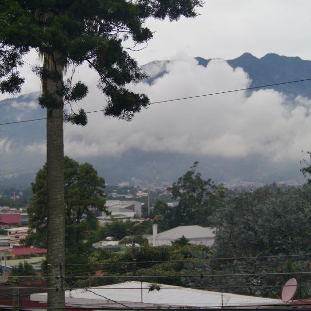 Ausblick auf eine grüne Stadtlandschaft mit Bergen im Hintergrund.