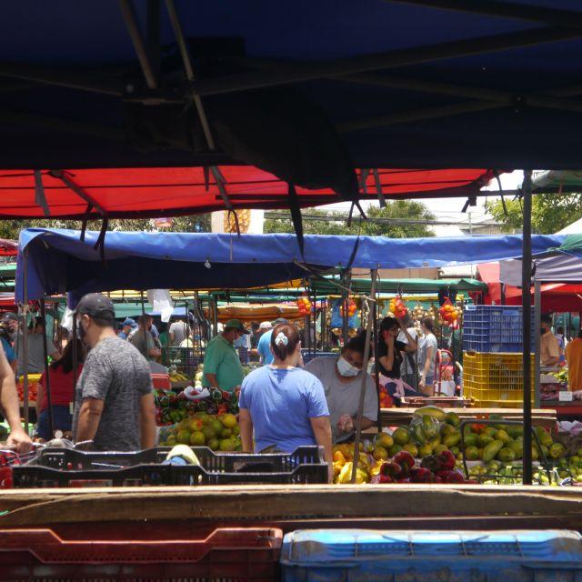 Marktstände mit blauen und roten markisen reihen sich dicht an dicht.