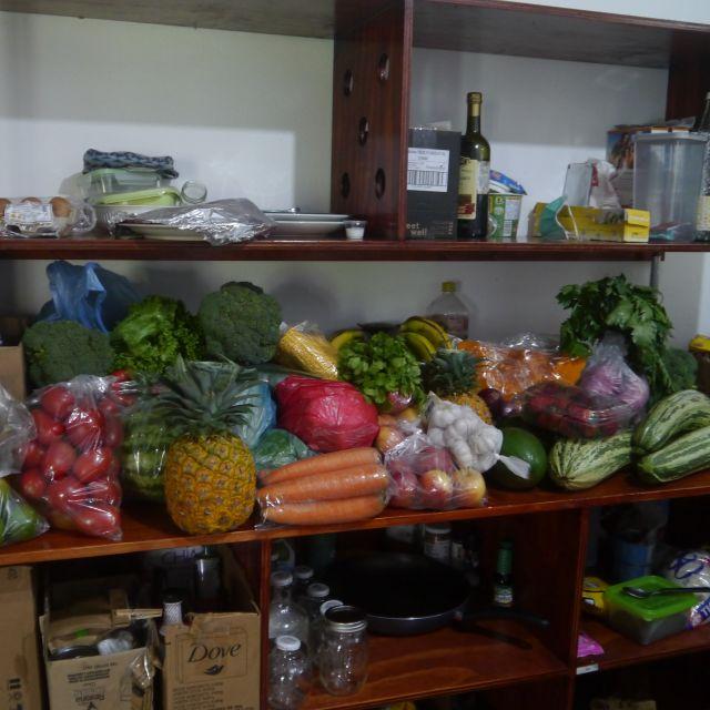 Eine ganze Küchenarbeitsfläche ist voll mit verschiedensten Obst- und Gemüsesorten.