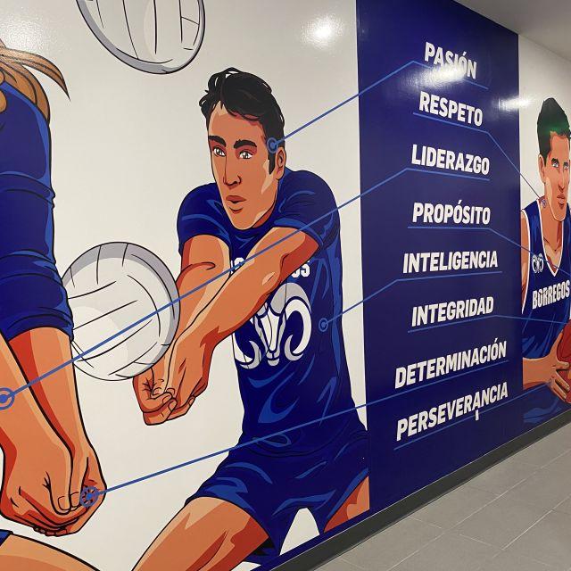 Wandbemalung von zweit Teams: Volleyball und Basketball