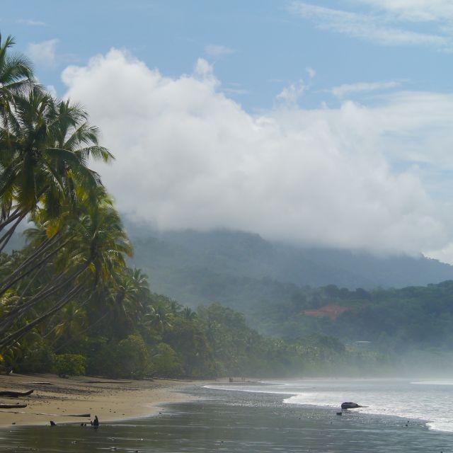 Blick auf Plamen, einen gelben Strand und Berge.