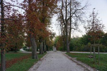 Ein Weg in Park, links und rechts Bäume mit braunen Blättern. In der Mitte des Bildes eine Skulptur in der Ferne.