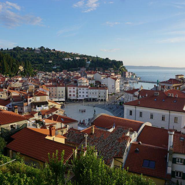Aussicht über die Dächer einer Stadt und auf das Meer.
