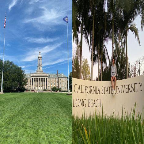 Campusbilder von Penn State und Cal State Long Beach