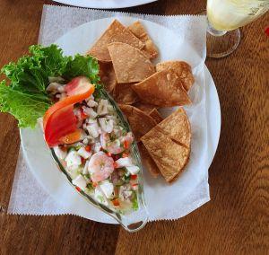 Teller mit frischem Fisch in Limettensoße und Tortillachips