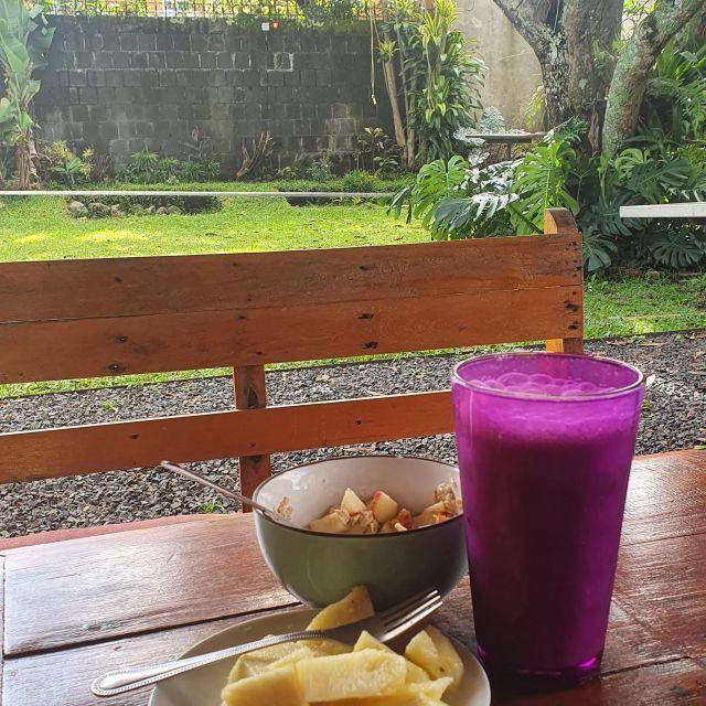 Frühstück auf einem Holztisch mit Blick in einen kleinen grünen Garten