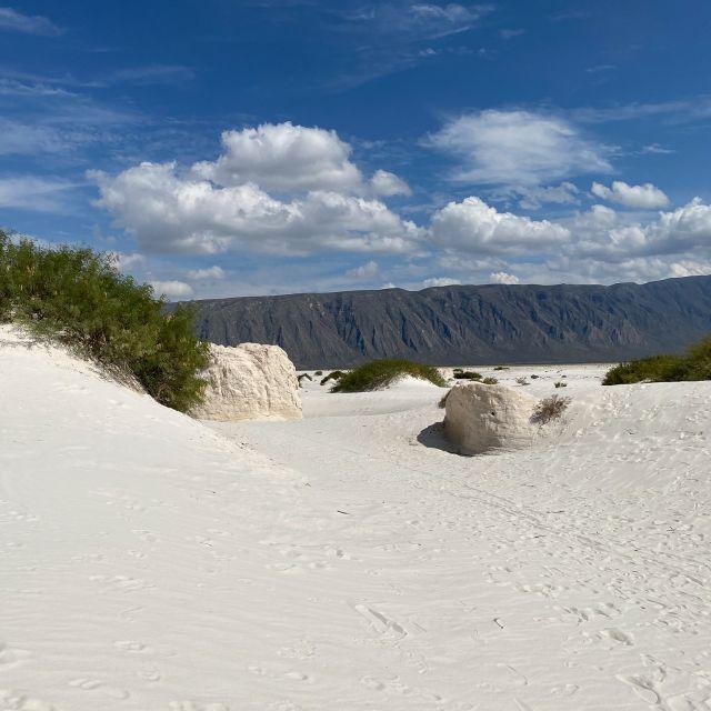 Die weiße Dünenlandschaft.