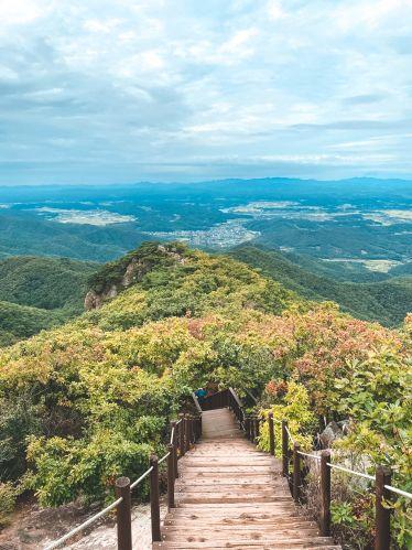 Die Aussicht von oben auf der Spitze des Gamaksan Berg in Korea